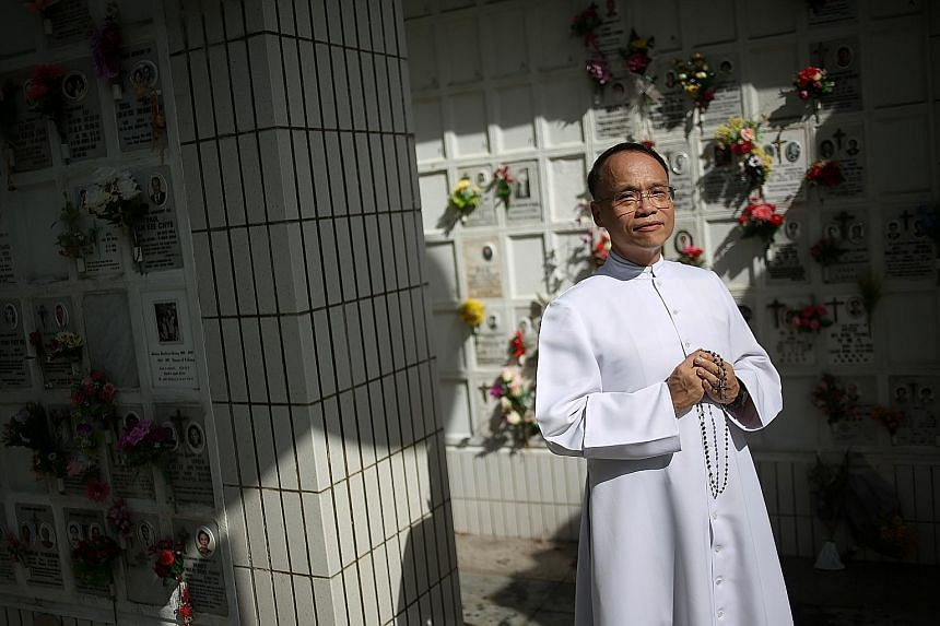 Father Yeo recommends that the ashes of a loved one be interred in a columbarium so he or she can be remembered and prayed for by the community. Cremation is the most popular option chosen by Catholics here.