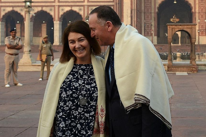 New Zealand Premier John Key and his wife Bronagh during a visit to the historic Jama Masjid mosque in New Delhi on Oct 27. Entering politics late, Mr Key quickly showed that behind the affable exterior was an acute political operator.