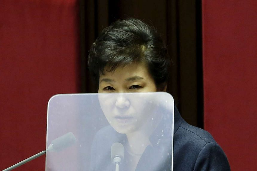 South Korean President Park Geun Hye delivers her speech during a plenary session at the National Assembly in Seoul, South Korea on Feb 16, 2016.