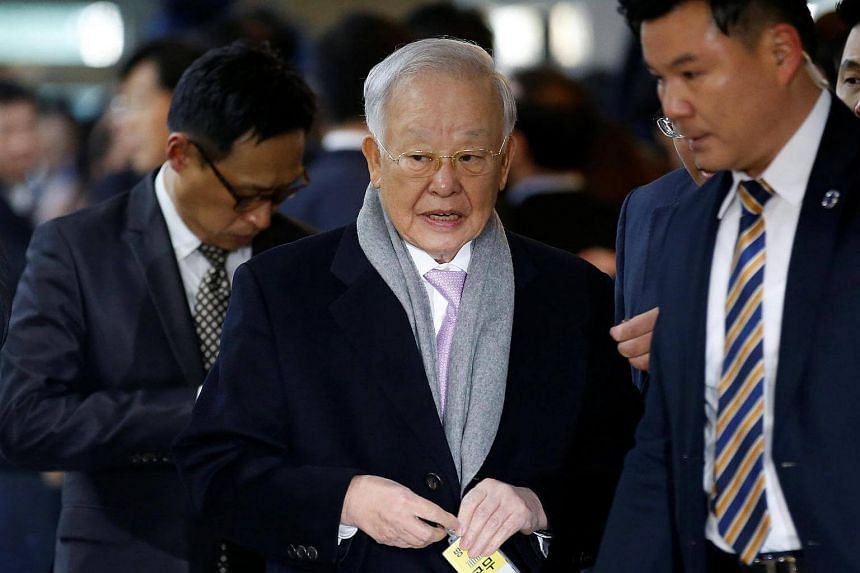 CJ Group chairman Sohn Kyung Shik arrivong to attend a hearing at the National Assembly in Seoul, South Korea, on Dec 6, 2016.