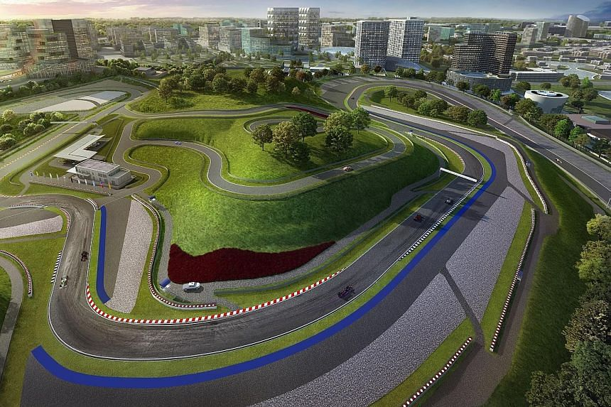 Above: The centrepiece of Fastrackcity, a 10-minute drive from the Tuas Second Link, is the 15-turn 4.45km track which is certified to stage Formula One races. Left: Johor Crown Prince Tunku Ismail Sultan Ibrahim giving a model of a racing car to Mal