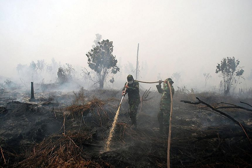 Indonesian soldiers trying to extinguish a peat fire in Kampar, Riau province, in October. The blanket ban on the cultivation of carbon-rich peatland across the country takes effect immediately.