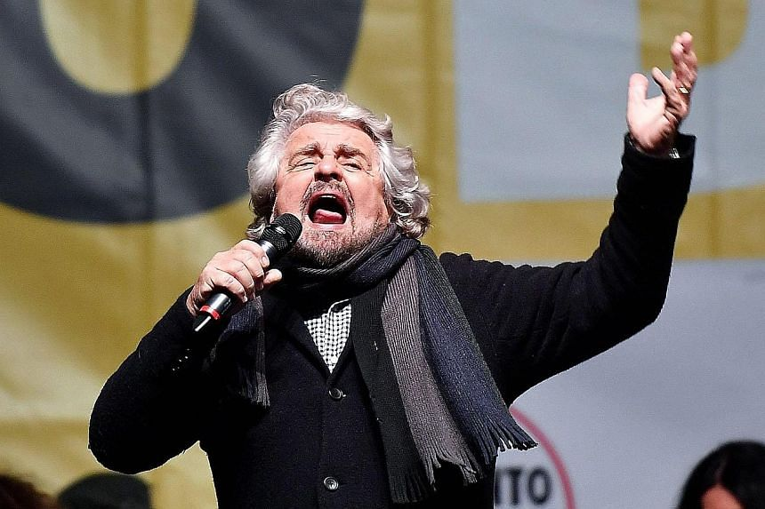 The Five Star Movement is led by Mr Beppe Grillo (left), who has for years advocated a referendum on Italy's euro zone membership status.