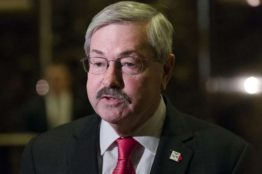 Iowa Governor Terry Branstad speaks to media following his meeting with US President-elect Trump at Trump Tower in New York on Dec 6, 2016.