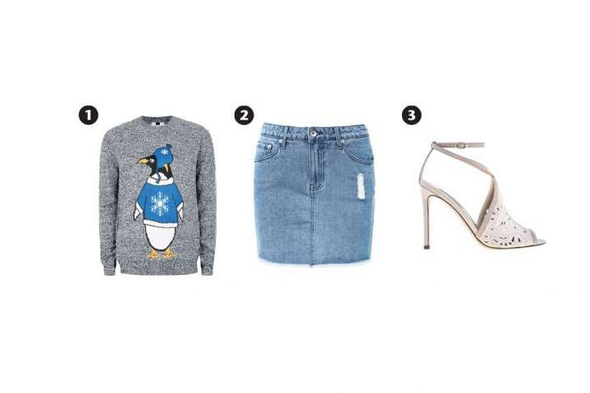 The denim skirt is decidedly casual, so dress it up with a pair of sparkly earrings and high-heeled shoes. Grey sweater (photo 1) with penguin print, $79.90, from Topshop; denim mini skirt (photo 2), $59.95, from Seed Heritage; and faux suede and fau