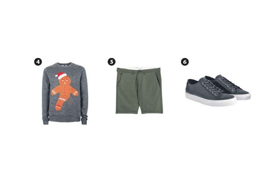 For casual house parties, stay cool in a pair of clean-cut chin shorts and dress it up with minimalist accessories such as a simple silver bracelet. Gingerbread man sweater (photo 4), $79.90, Topman from Zalora.sg; olive-green bermuda shorts (photo