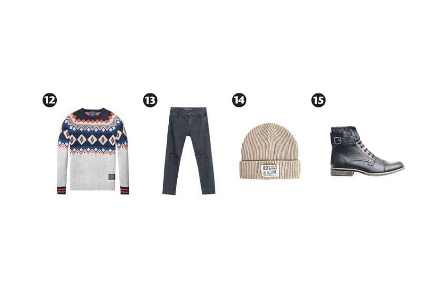 Ripped jeans and biker boots give the Christmas sweater a much needed edge. Crewneck sweater with Fair Isle knit (photo 12), $259, from Scotch & Soda; paint splatter-effect pants with rips in knees (photo 13), $79.90, from Zara; acrylic knit beanie (
