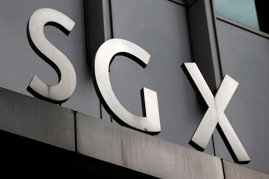 A logo of the Singapore Stock Exchange (SGX) at its premises in the financial district of Singapore.