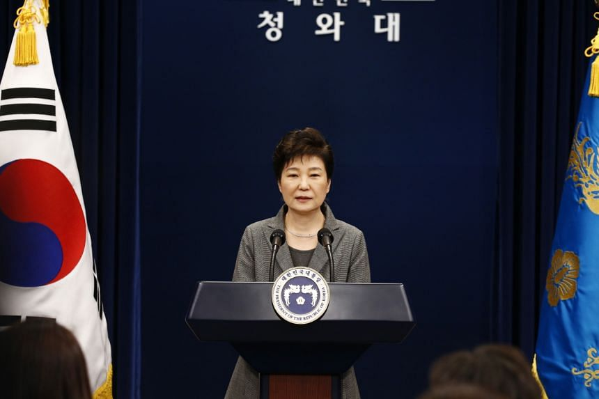 South Korean President Park Geun Hye speaks during an address to the nation, at the presidential Blue House in Seoul on Nov 29, 2016.