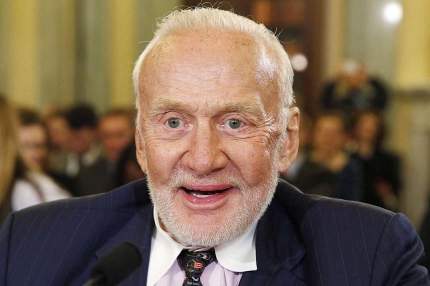 Former astronaut Buzz Aldrin testifies at a Senate Subcommittee on Space, Science, and Competitiveness on Capitol Hill in Washington on Feb 24, 2015.