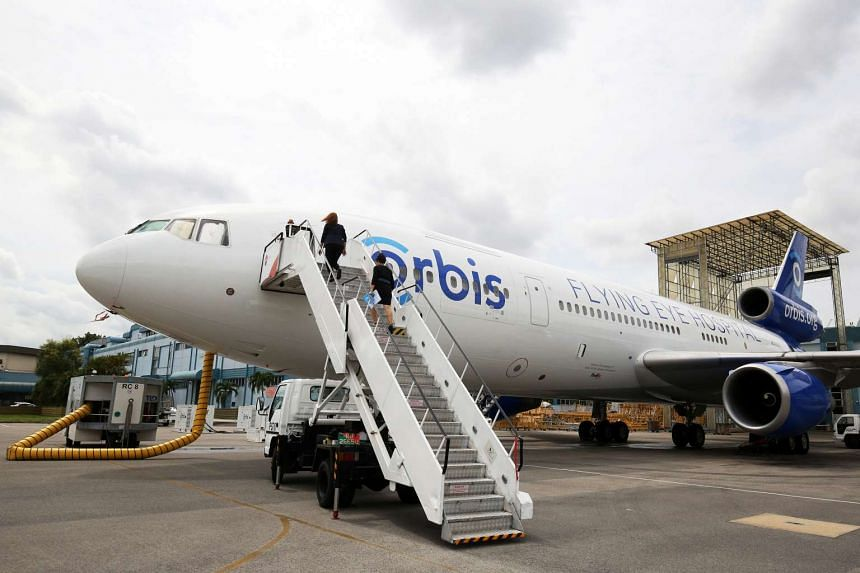 "The Orbis plane, the world's only ""flying eye hospital"", made its stop in Singapore this week to raise awareness about blindness."