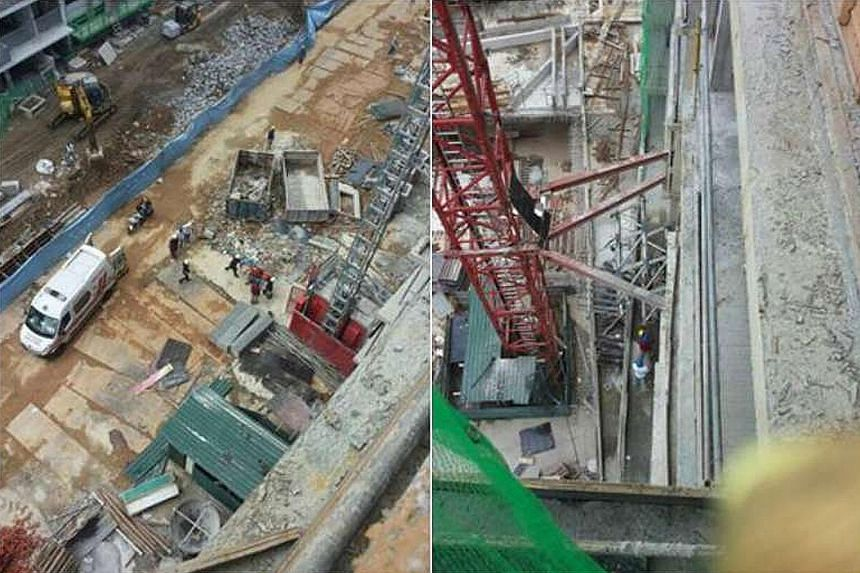A worker died at this construction site located at the junction of Sembawang Road and Canberra Road yesterday morning. Police are investigating the incident.