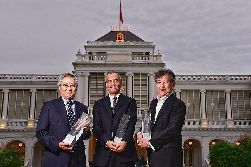 From far left: Architect Raymond Woo, design engineer Hossein Rezai, and architect Rene Tan received the Designer of the Year awards at the President's Design Award last night. Dr Rezai is a chartered civil and structural engineer who works closely w