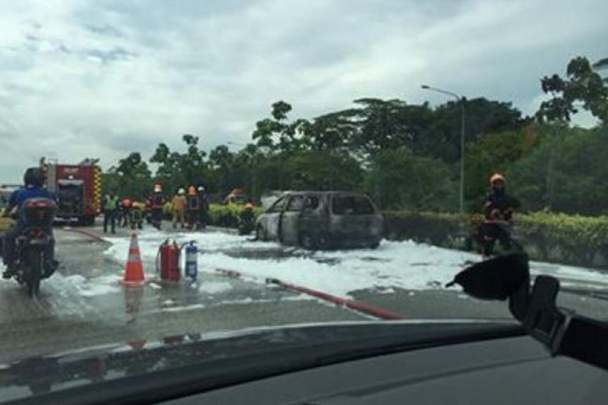 SCDF officers extinguished the fire with a compressed air foam jet.