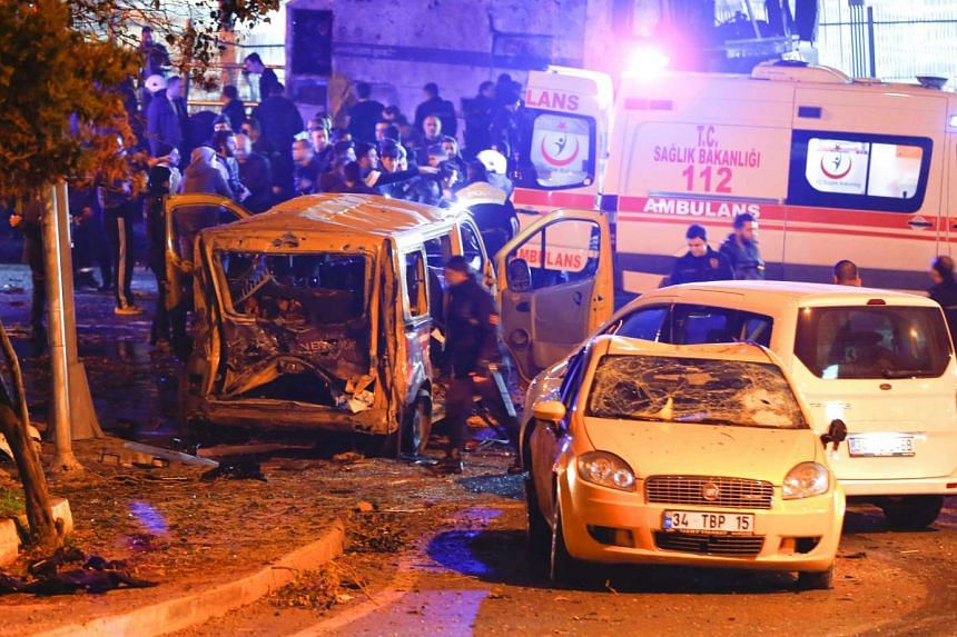 Police arrive at the site of an explosion in central Istanbul, Turkey, Dec 10, 2016.