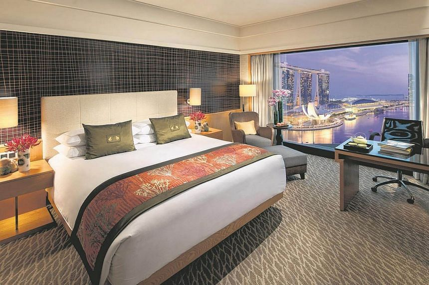 The Marina Bay View room at Mandarin Oriental in Singapore.