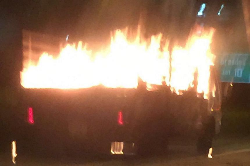 A lorry caught fire on the CTE near the Braddell Road exit on the side heading towards Ang Mo Kio on Monday (Dec 12) night.