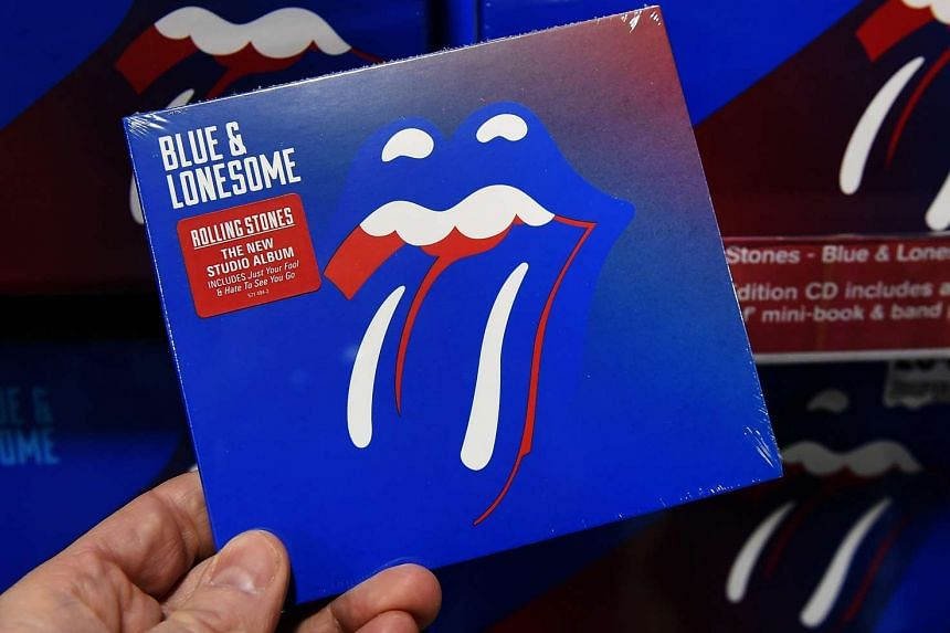 The Rolling Stones new album Blue & Lonesome on the shelves at a music store in London.