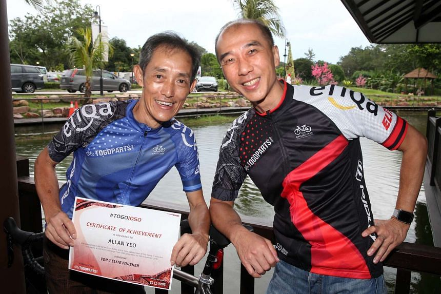 Top cyclist at Togo1050 Mr Yeo (left) cycled more than 13,000km, while Mr Koo clocked more than 3,000km even though he had to travel during the event period.