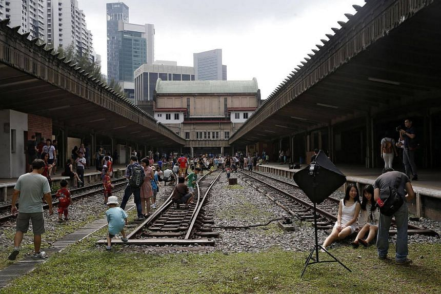 Visitors enjoying themselves at Tanjong Pagar Railway Station.