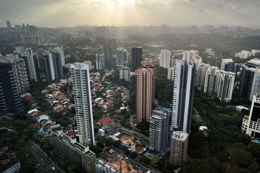High-rise condominium buildings in the Singapore city centre.