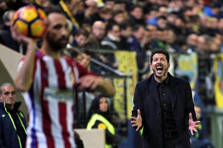 An exasperated Atletico Madrid head coach Diego Simeone during his side's 0-3 loss to Villareal on Dec 12, 2016.