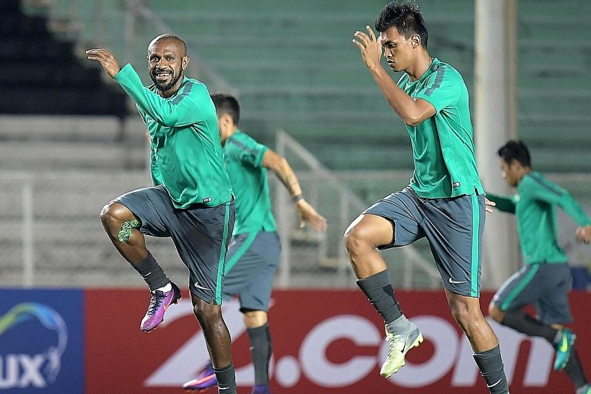 Indonesia captain Boas Salossa (left) and fellow forward Lerby Eliandry training during the Suzuki Cup, where they seek their first title.