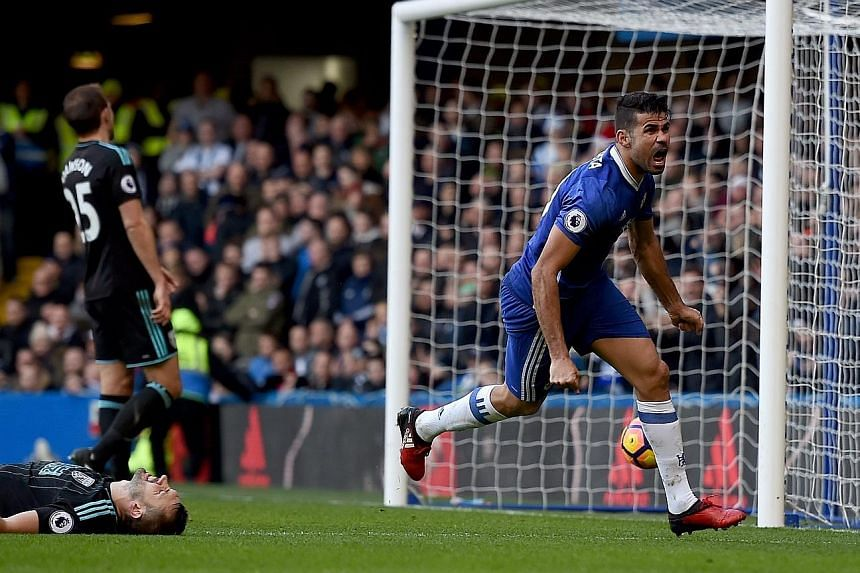 Chelsea's Diego Costa after scoring the only goal of the match, a brilliant left-footed shot and his 12th League goal of the season, against West Brom on Sunday.