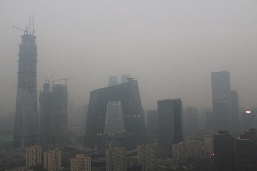 Smog obscuring the Beijing skyline on Nov 18, 2016. Beijing's city government has issued a red alert for severely high levels of air pollution in the city from Dec 17 to 21.