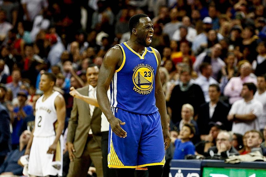 Golden State Warriors forward Draymond Green reacting after making a steal against the New Orleans Pelicans. The Warriors defeated the Pelicans 113-109, with Green's defensive display contributing to a final 4min 48sec shutdown of the home team's sco