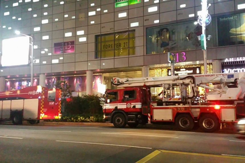 Fire engines parked in front of 313@somerset, after a fire broke out in the mall, on Thursday (Dec 15) night.