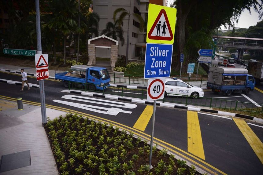 Silver Zones, like this one in Bukit Merah View, have speed limit signs and rumble stripes informing motorists to slow down and observe a speed limit of 40kmh.