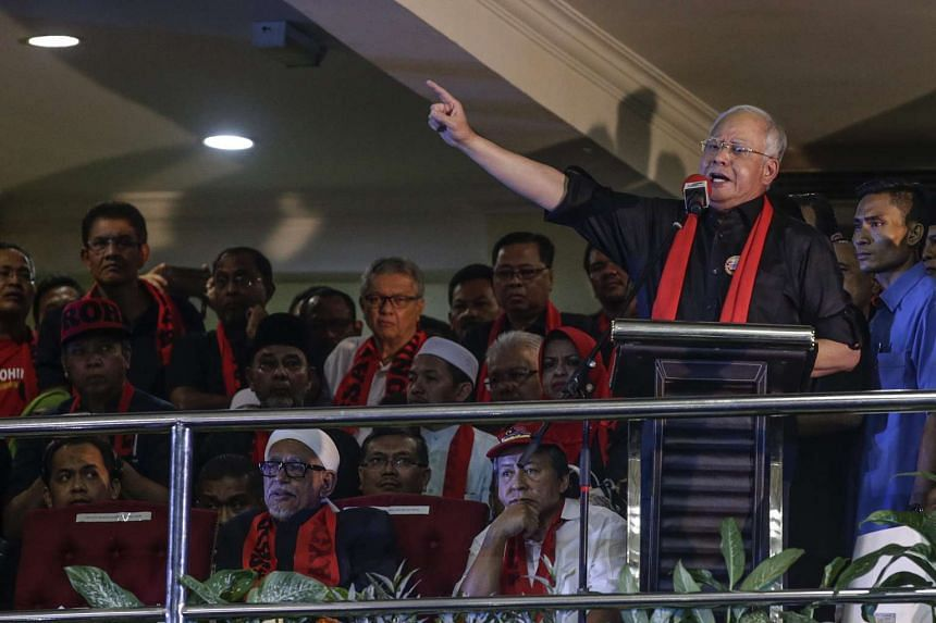 Malaysian Prime Minister Najib Razak speaking at a protest condemning Myanmar's government violence on Rohingya people in Rakhine State.