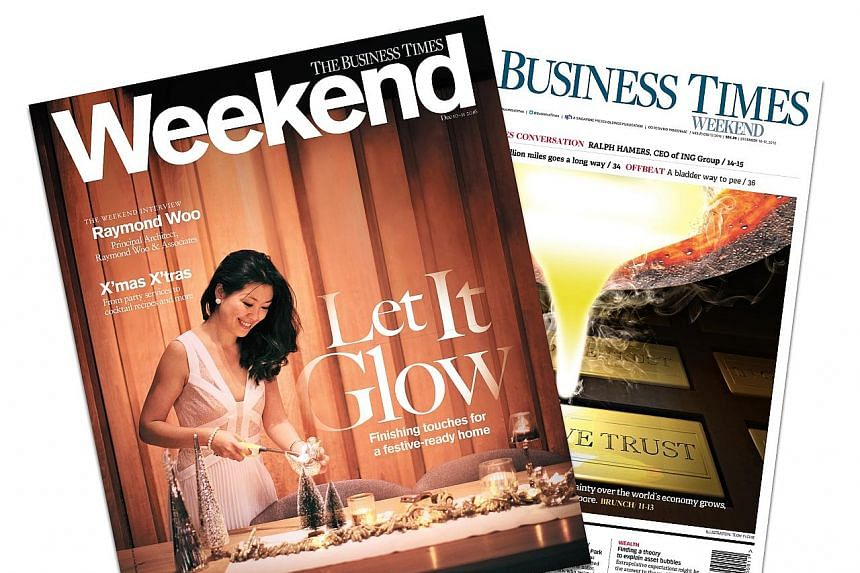 The Business Times Weekend comes with a wrap-around luxury lifestyle magazine called Weekend, which was revamped as a leisurely weekend read during the relaunch.