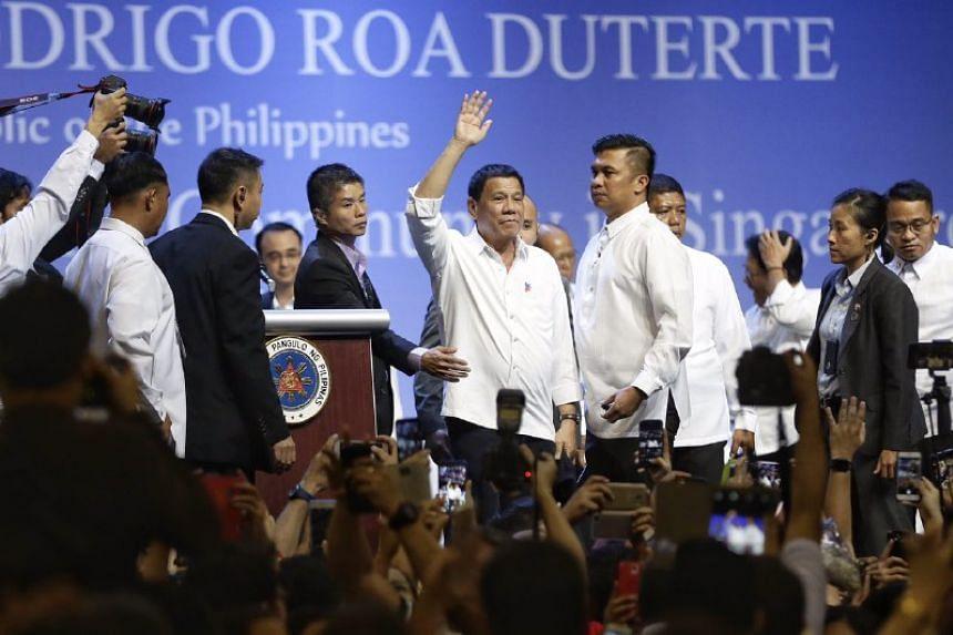 Philippine President Rodrigo Duterte at the Singapore Expo on Dec 16, 2016.