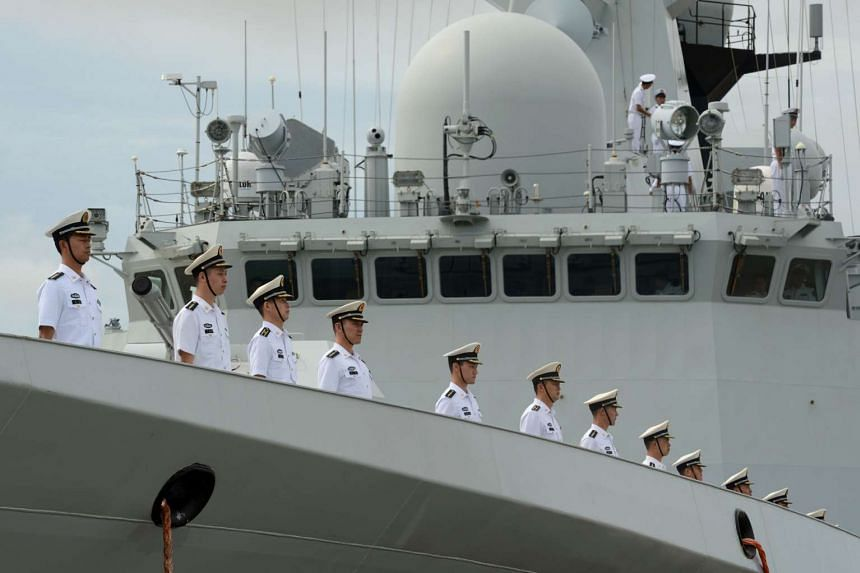 Chinese Navy personnel aboard a People's Liberation Army ship on Oct 4, 2016.