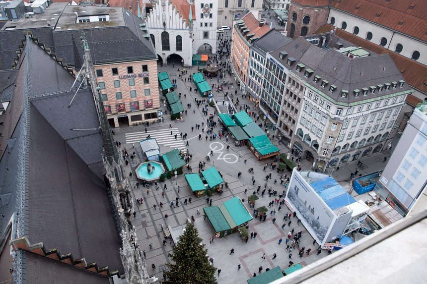 An aerial view of the Christmas market in Munich, Germany. Security has been ramped up at Christmas markets across Europe after a lorry ploughed through a market in Berlin on Monday (Dec 19).
