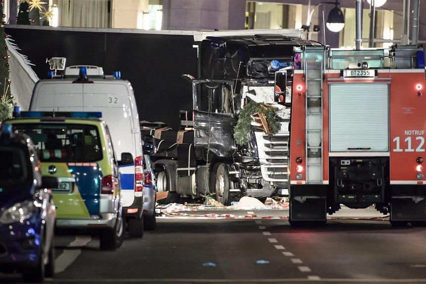 The truck that crashed into a Christmas market, close to the Kaiser Wilhelm memorial church in Berlin.