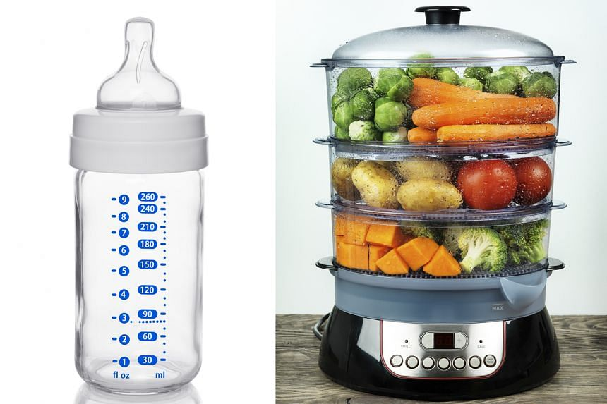 A glass baby bottle (left) for new parents and a multi-tier steamer (right) to cook healthier food.