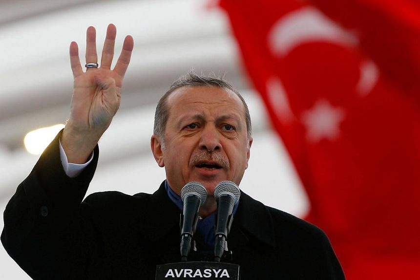 Turkish President Tayyip Erdogan makes a speech during the opening ceremony of Eurasia Tunnel in Istanbul, Turkey, on Dec 20, 2016.