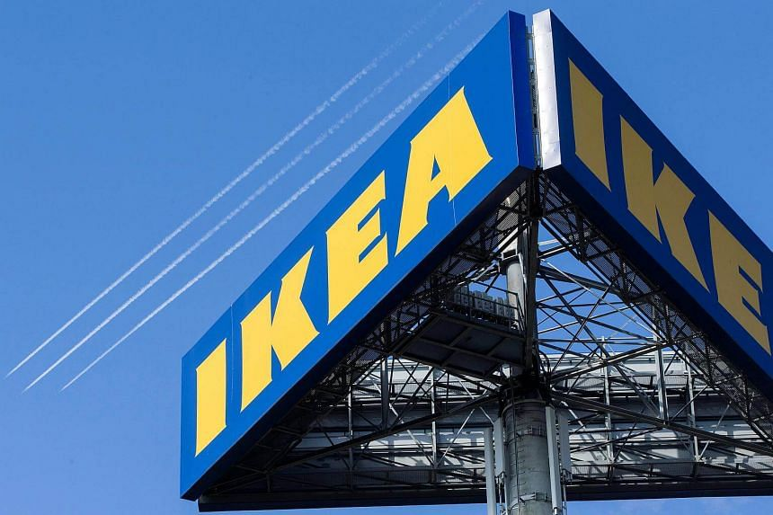 The Ikea logo is seen outside the Ikea Concept Centre, in Delft, the Netherlands.