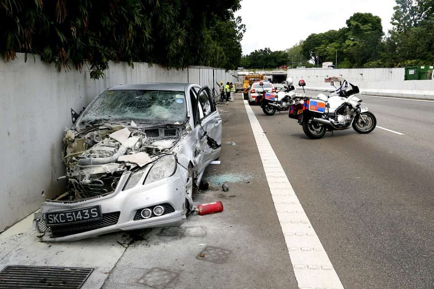 The Mercedes-Benz, which sparked the series of crashes on AYE, finally came to a stop after careening across three lanes, crashing into a motorcycle and hitting the wall by left-most lane.