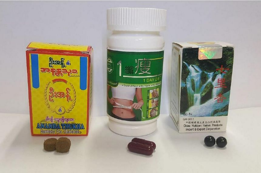 The HSA is warning the public not to take (from left) Ananda Thukha Remedy for Diabetes, 1 Day Diet and Bee Brand Qi Li Xiang.