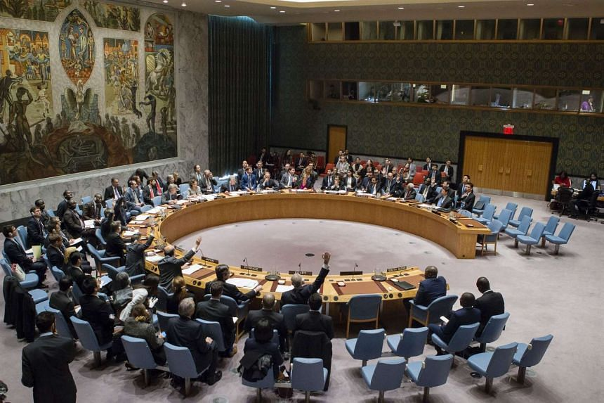 The UN Security Council taking a vote on a draft resolution aiming to impose an arms embargo and targeted sanctions against the government of South Sudan.