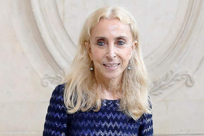 Fashion editor Franca Sozzani posing before the Christian Dior 2017 Spring/Summer ready-to-wear collection fashion show in Paris in September.