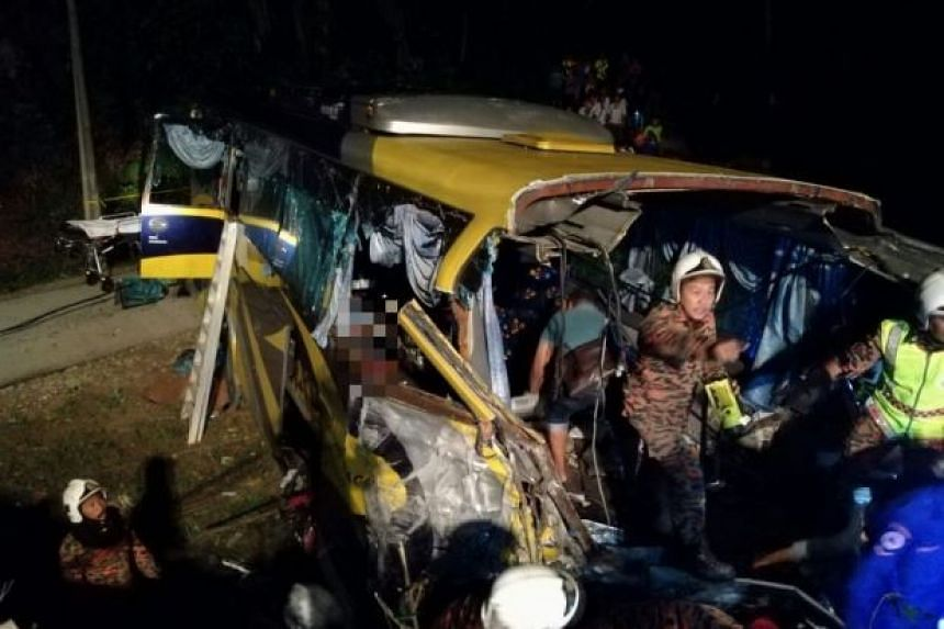 Thirteen people were killed and 17 others injured when an express bus skidded and plunged off a cliff in Malaysia early Saturday (Dec 24) morning.
