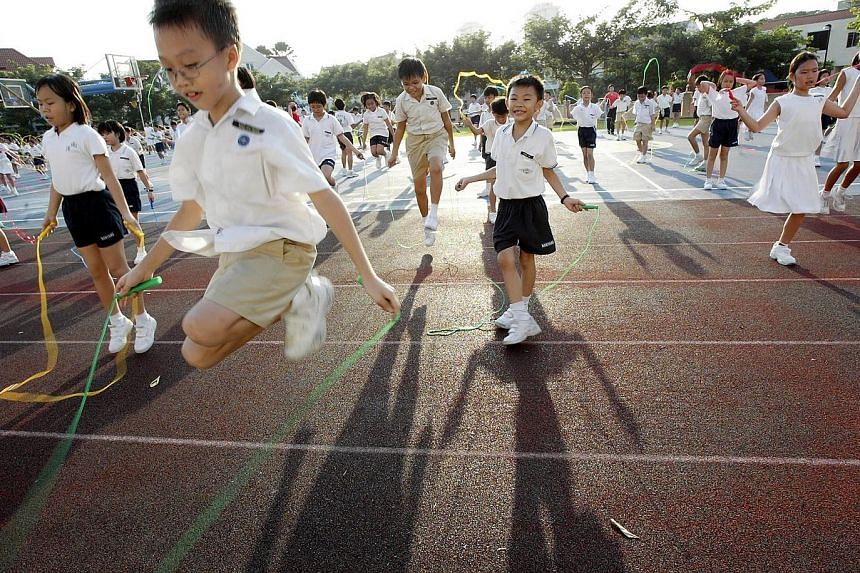 Nanyang Primary School pupils at a skipping event in 2005. During the 2000s, specialist schools, such as the Singapore Sports School, were opened.