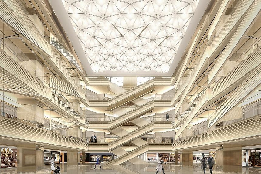 An artist's impression of the Ginza Six mega-mall that will open on April 20 in Tokyo. Besides shops, the complex will also be used for a traditional noh theatre, art exhibitions, office space and a bus terminal.