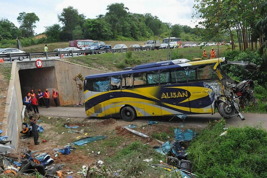 The Alisan Gold Coach bus, which was travelling from Johor Baru to Kuala Lumpur, veered off the North-South Expressway near Muar in Johor and plunged from a height of more than 6m.