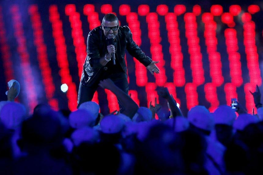 Singer George Michael performs during the closing ceremony of the London 2012 Olympic Games at the Olympic Stadium on Aug 12, 2012.